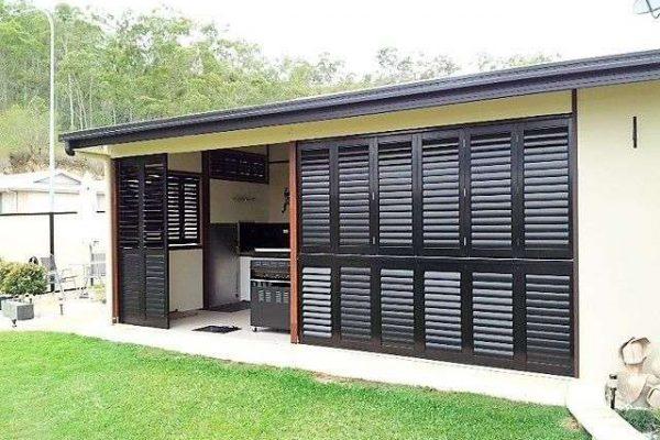 Aluminum Shutter Bi-fold-Black-outdoor- Melbourne